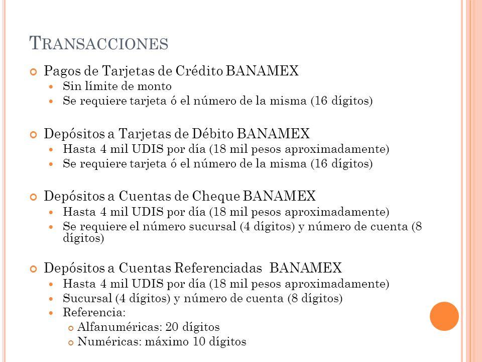 Transacciones Pagos de Tarjetas de Crédito BANAMEX