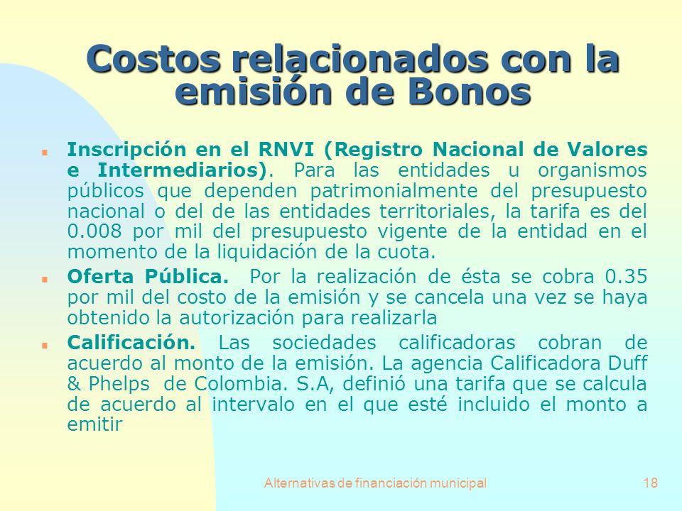 Costos relacionados con la emisión de Bonos
