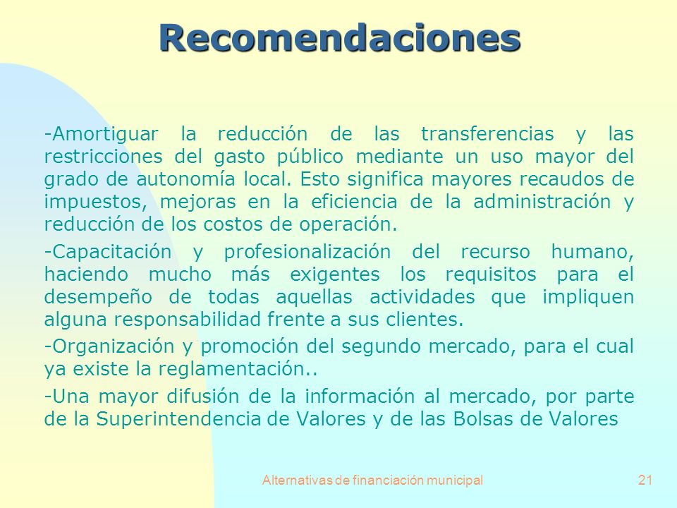 Alternativas de financiación municipal