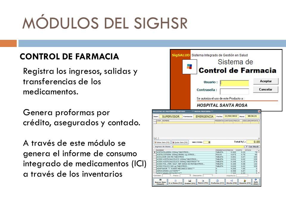 MÓDULOS DEL SIGHSR CONTROL DE FARMACIA