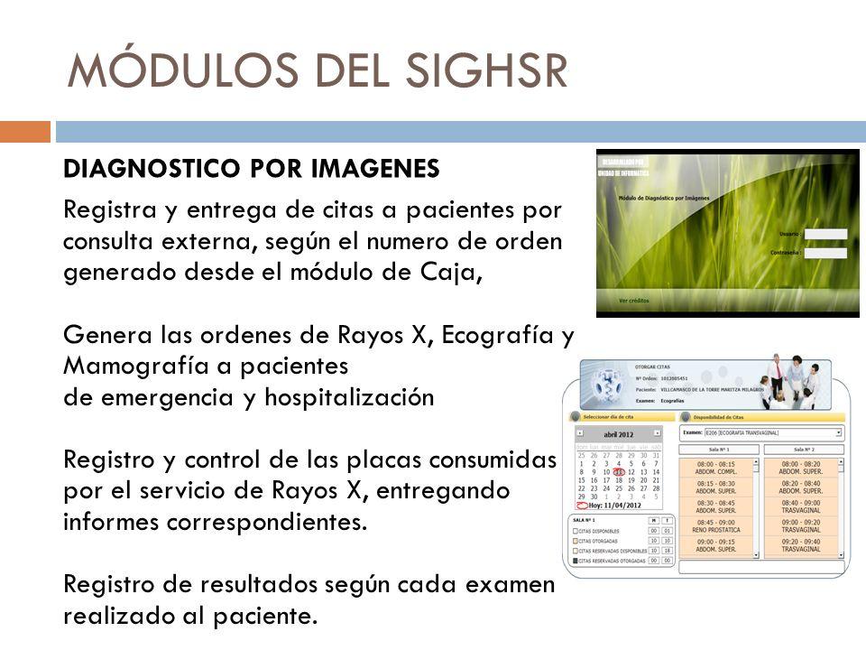 MÓDULOS DEL SIGHSR DIAGNOSTICO POR IMAGENES