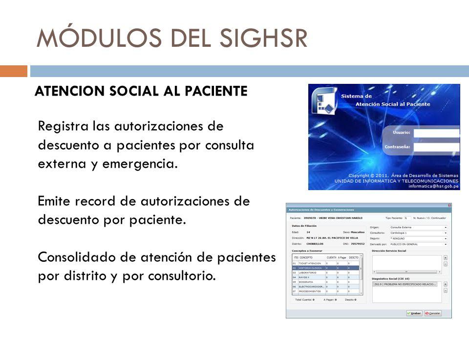 MÓDULOS DEL SIGHSR ATENCION SOCIAL AL PACIENTE