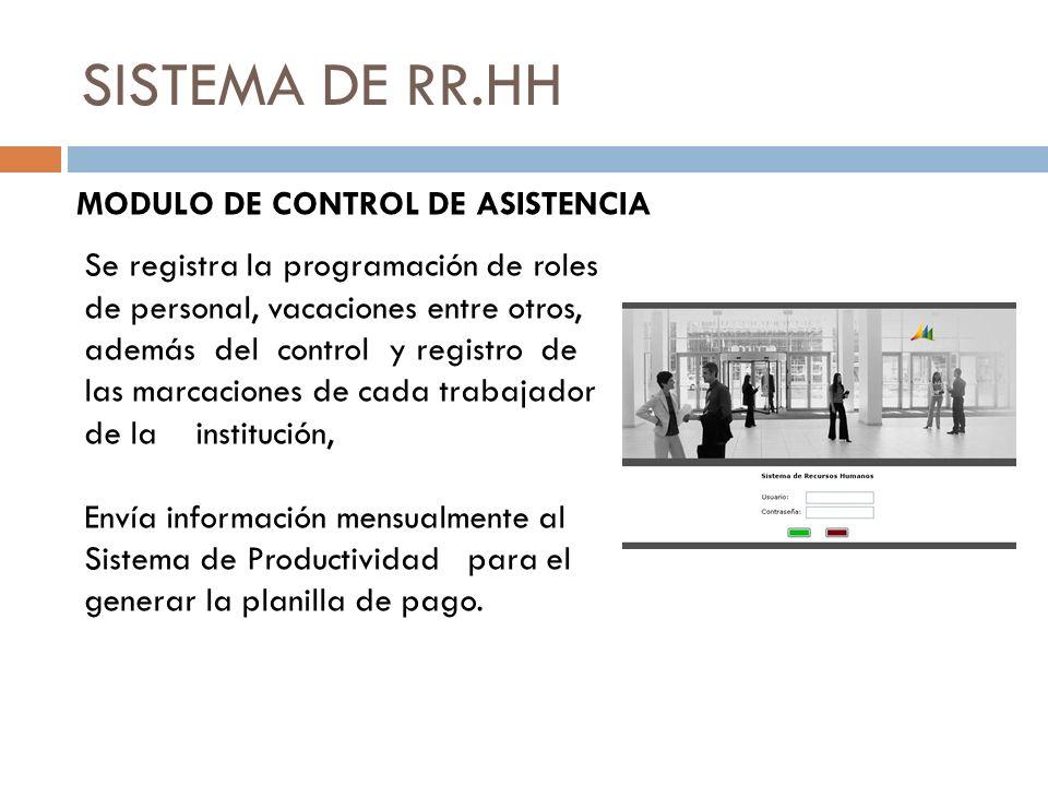 SISTEMA DE RR.HH MODULO DE CONTROL DE ASISTENCIA