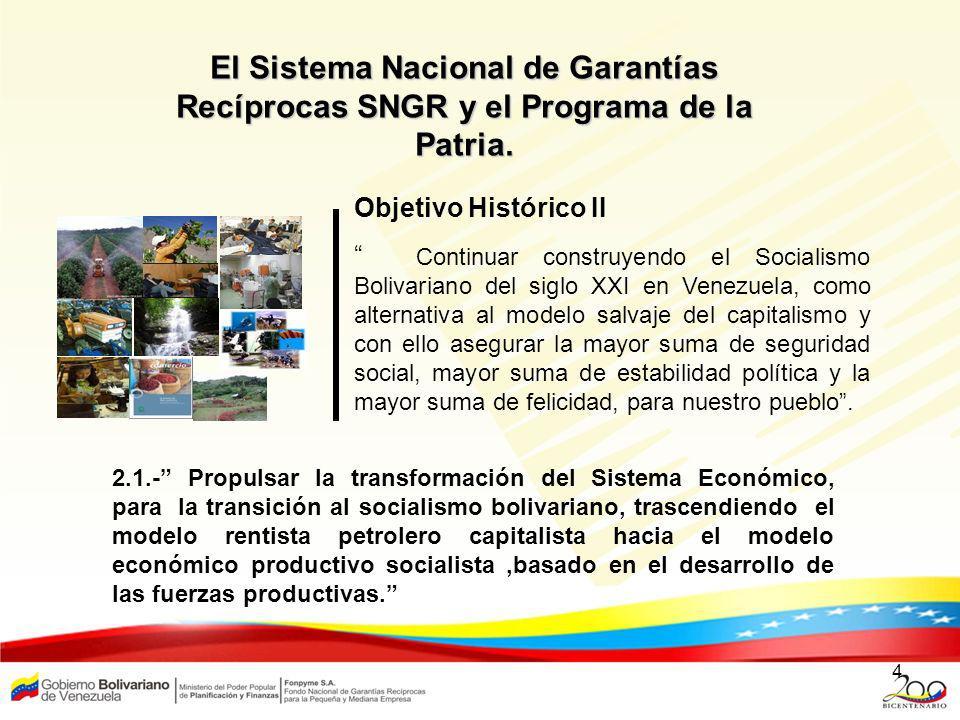 El Sistema Nacional de Garantías Recíprocas SNGR y el Programa de la Patria.
