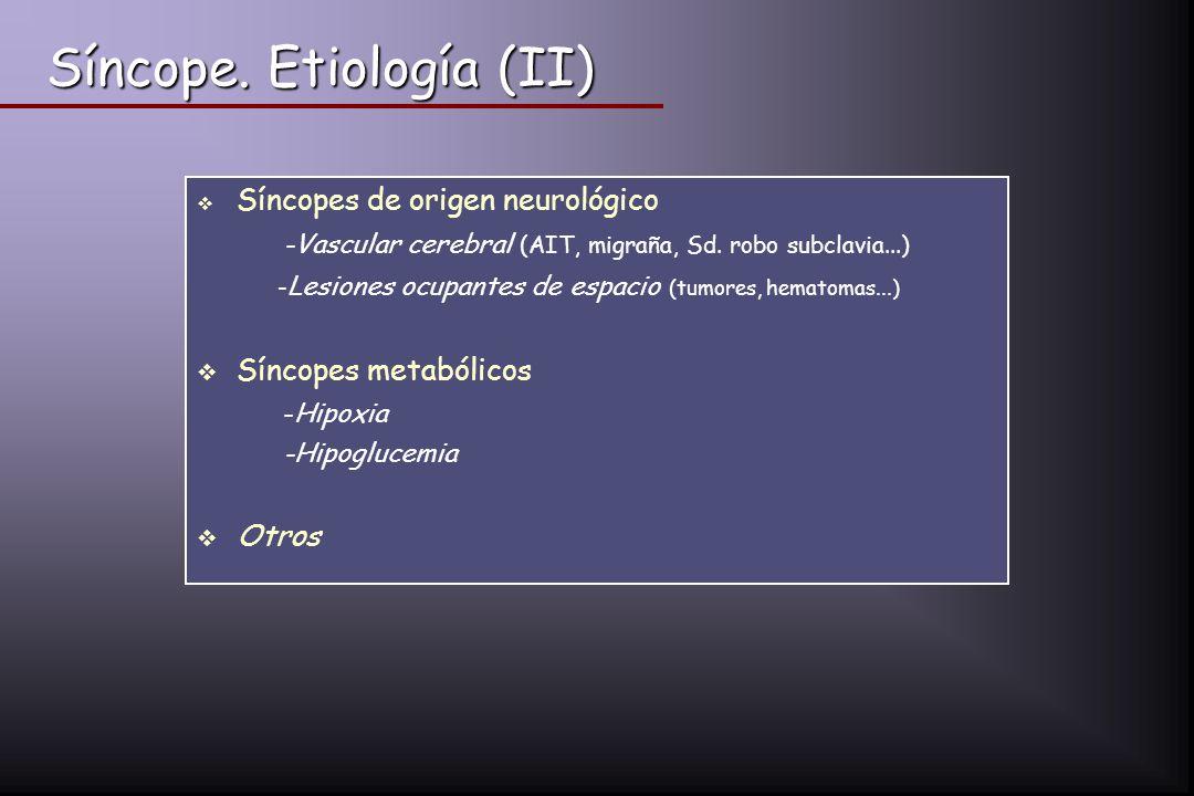Síncope. Etiología (II)