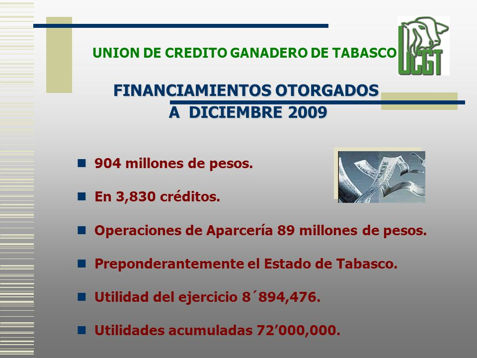 UNION DE CREDITO GANADERO DE TABASCO FINANCIAMIENTOS OTORGADOS