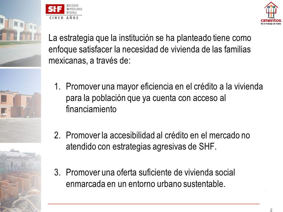 La estrategia que la institución se ha planteado tiene como enfoque satisfacer la necesidad de vivienda de las familias mexicanas, a través de: