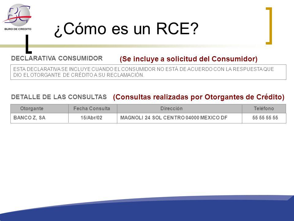 ¿Cómo es un RCE (Se incluye a solicitud del Consumidor)