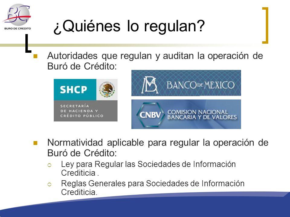 ¿Quiénes lo regulan Autoridades que regulan y auditan la operación de Buró de Crédito: