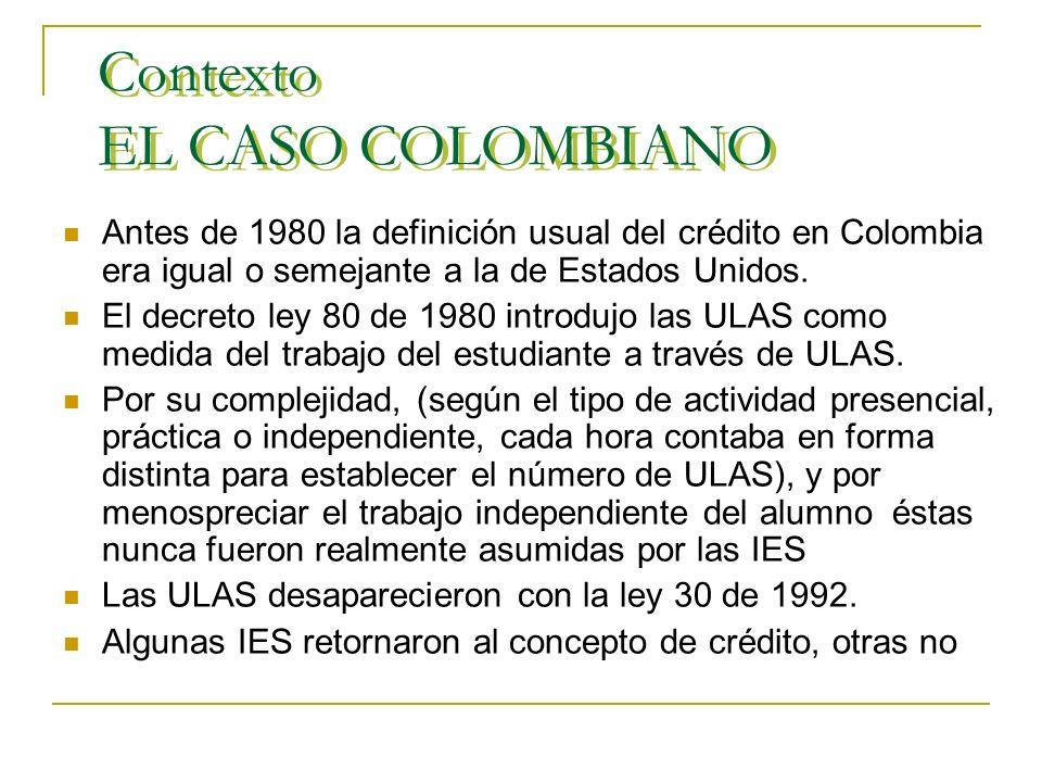 Contexto EL CASO COLOMBIANO