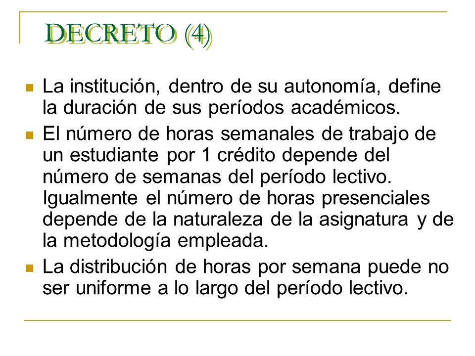 DECRETO (4) La institución, dentro de su autonomía, define la duración de sus períodos académicos.
