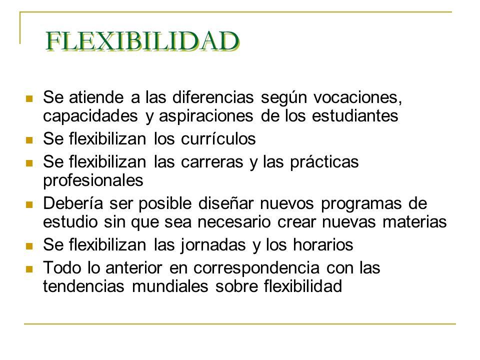 FLEXIBILIDAD Se atiende a las diferencias según vocaciones, capacidades y aspiraciones de los estudiantes.