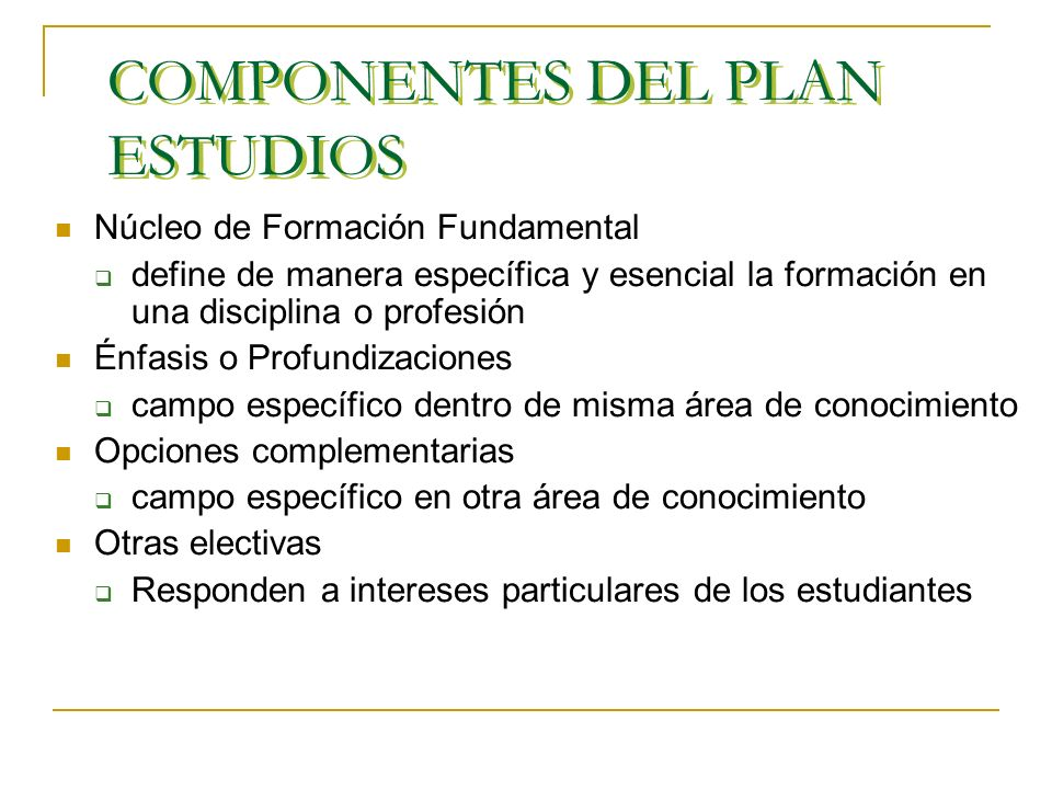 COMPONENTES DEL PLAN ESTUDIOS