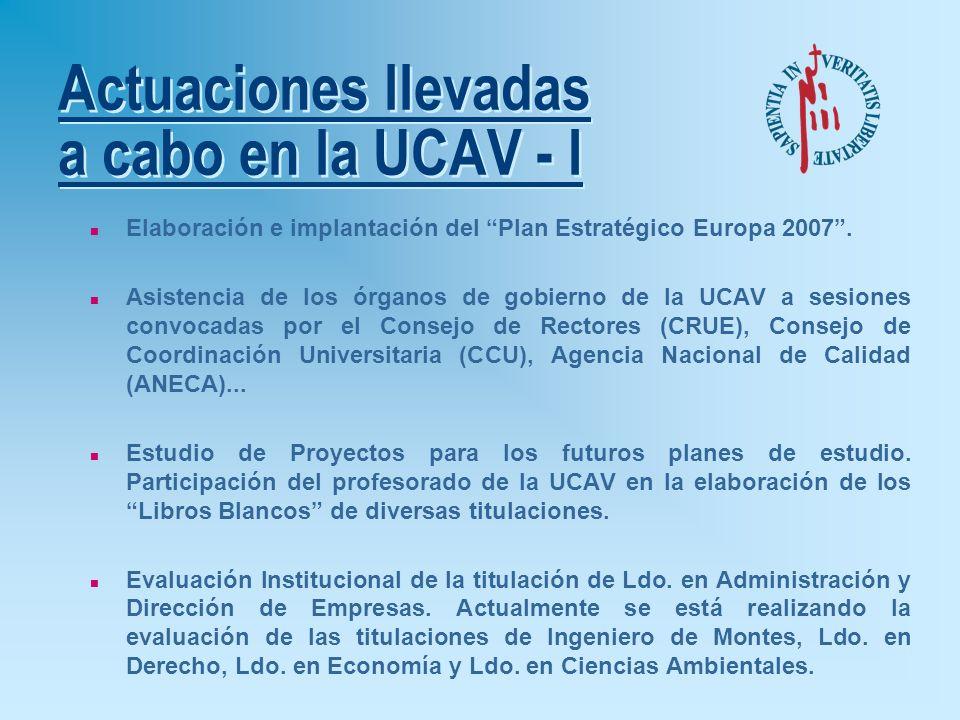 Actuaciones llevadas a cabo en la UCAV - I