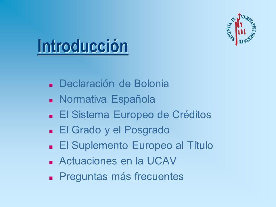 Introducción Declaración de Bolonia Normativa Española