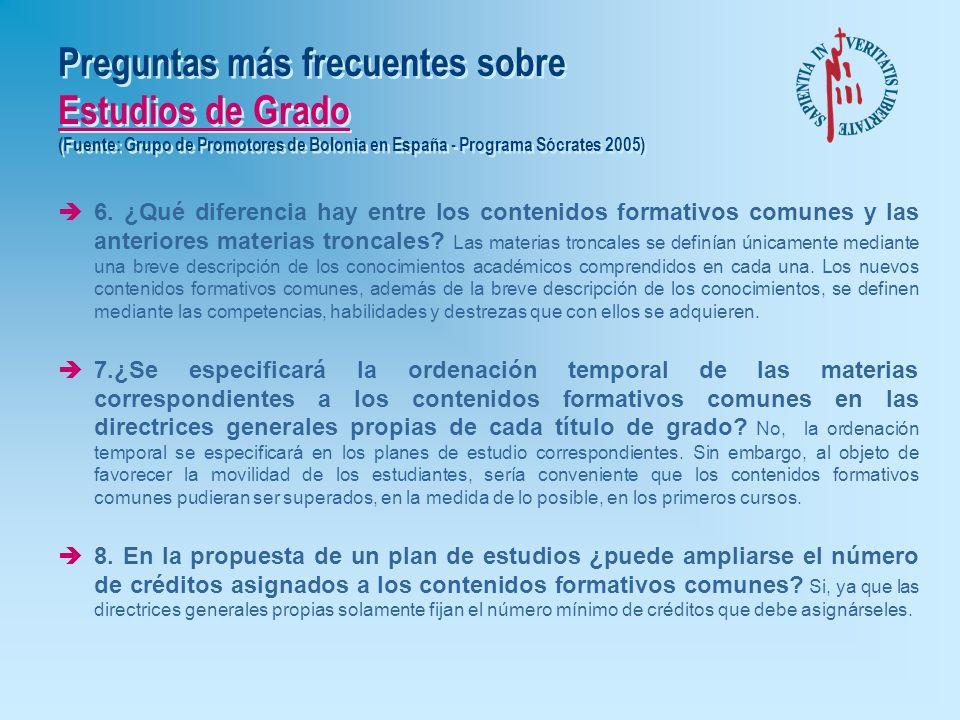 Preguntas más frecuentes sobre Estudios de Grado (Fuente: Grupo de Promotores de Bolonia en España - Programa Sócrates 2005)