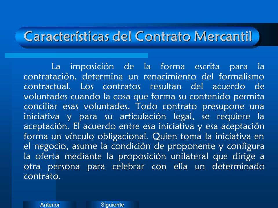 Características del Contrato Mercantil