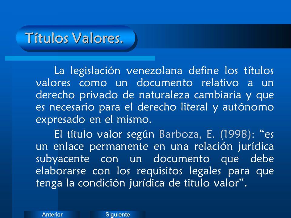 Títulos Valores.