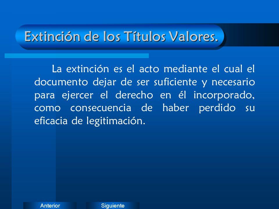 Extinción de los Títulos Valores.
