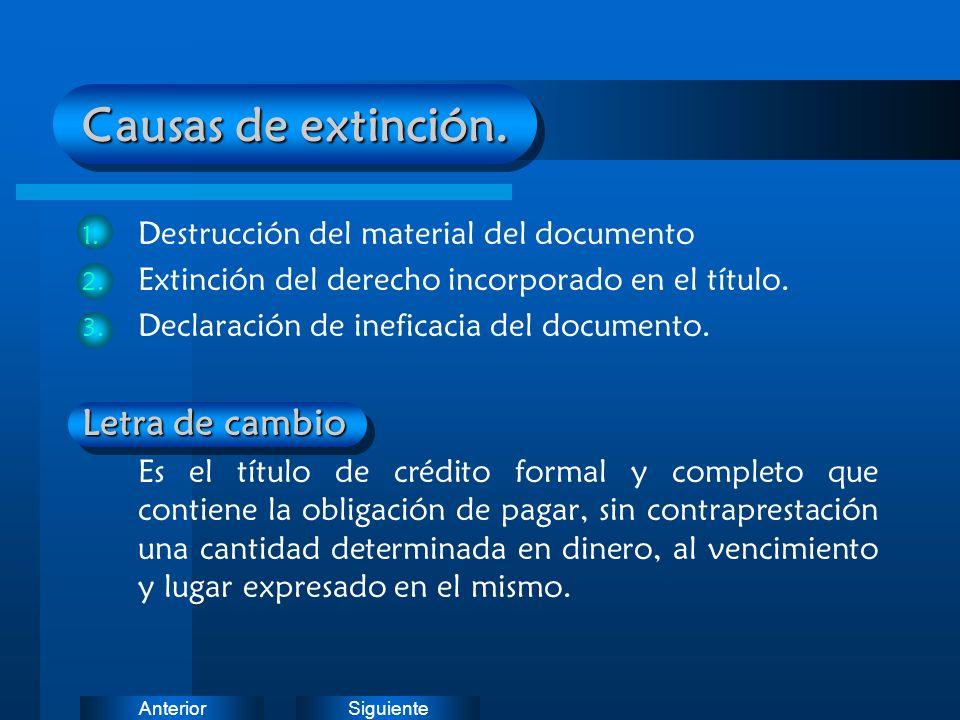 Causas de extinción. Letra de cambio