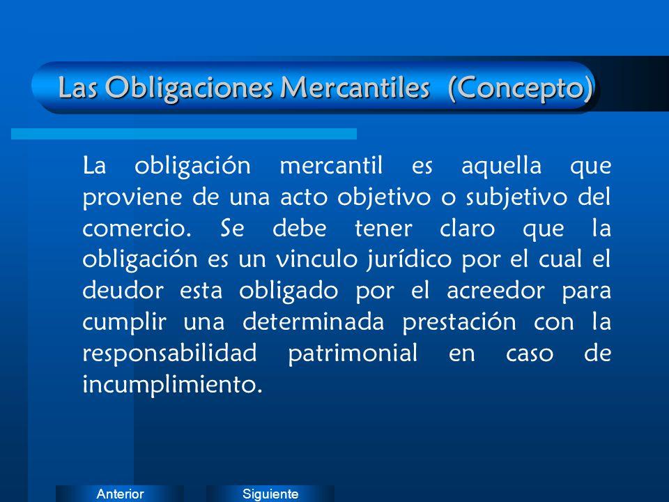 Las Obligaciones Mercantiles (Concepto)