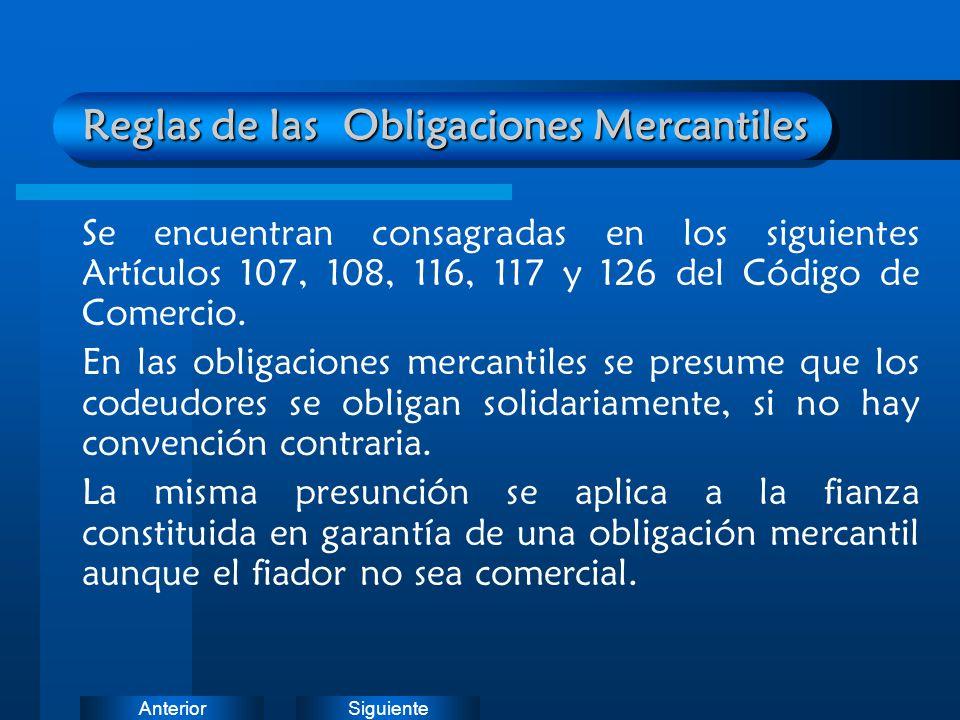 Reglas de las Obligaciones Mercantiles