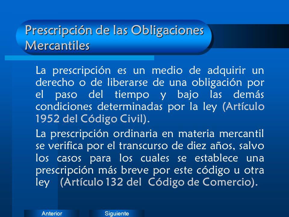 Prescripción de las Obligaciones Mercantiles