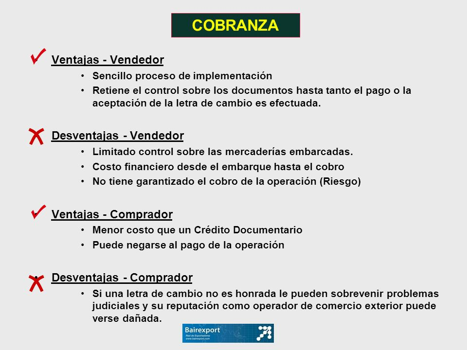 COBRANZA Ventajas - Vendedor Desventajas - Vendedor