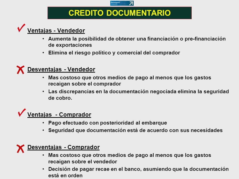 CREDITO DOCUMENTARIO Ventajas - Vendedor Desventajas - Vendedor
