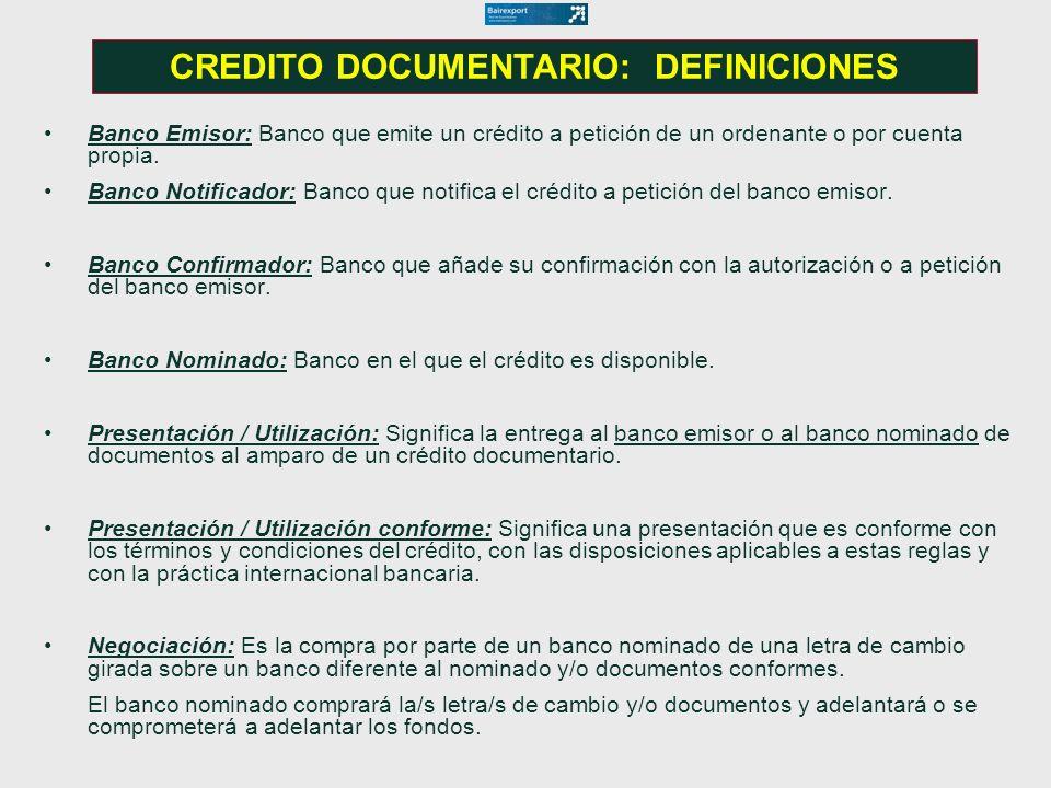 CREDITO DOCUMENTARIO: DEFINICIONES