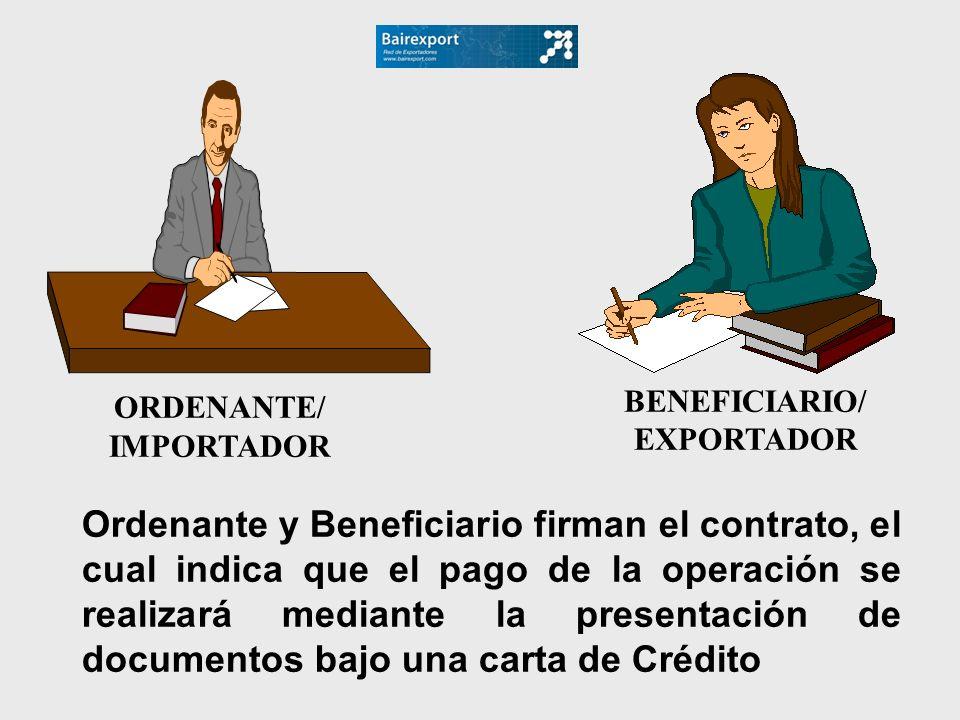 ORDENANTE/ IMPORTADOR. BENEFICIARIO/ EXPORTADOR.