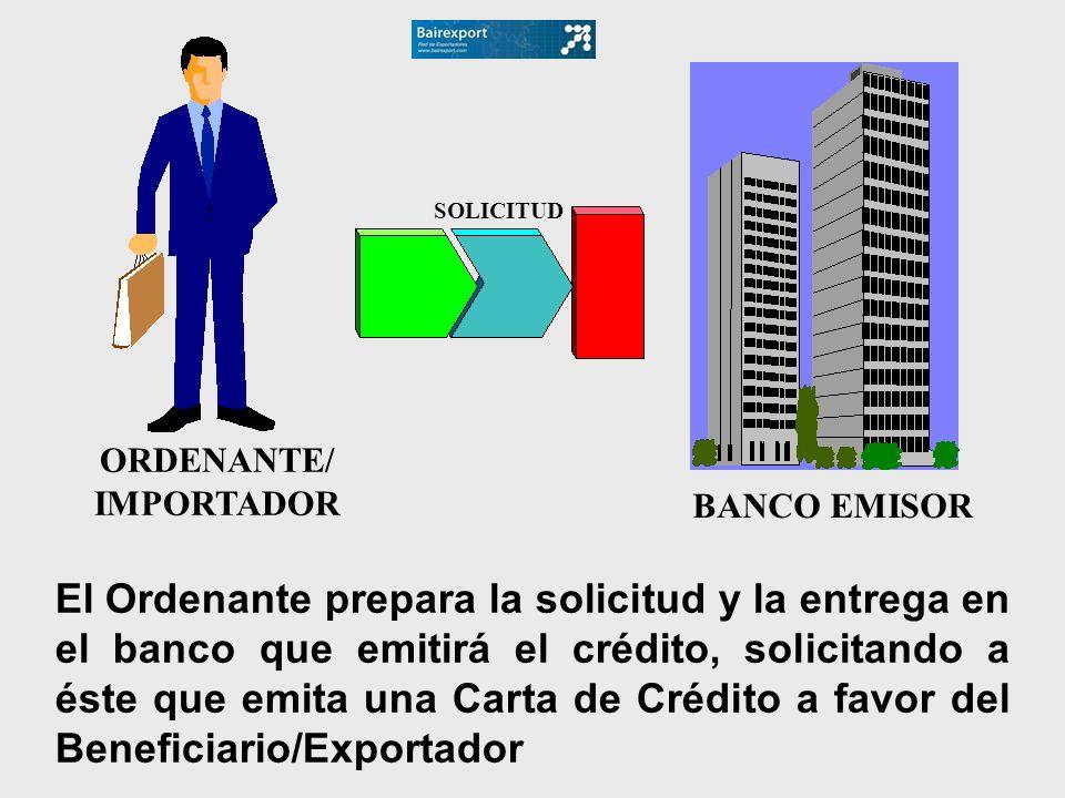 ORDENANTE/IMPORTADOR. BANCO EMISOR. SOLICITUD.
