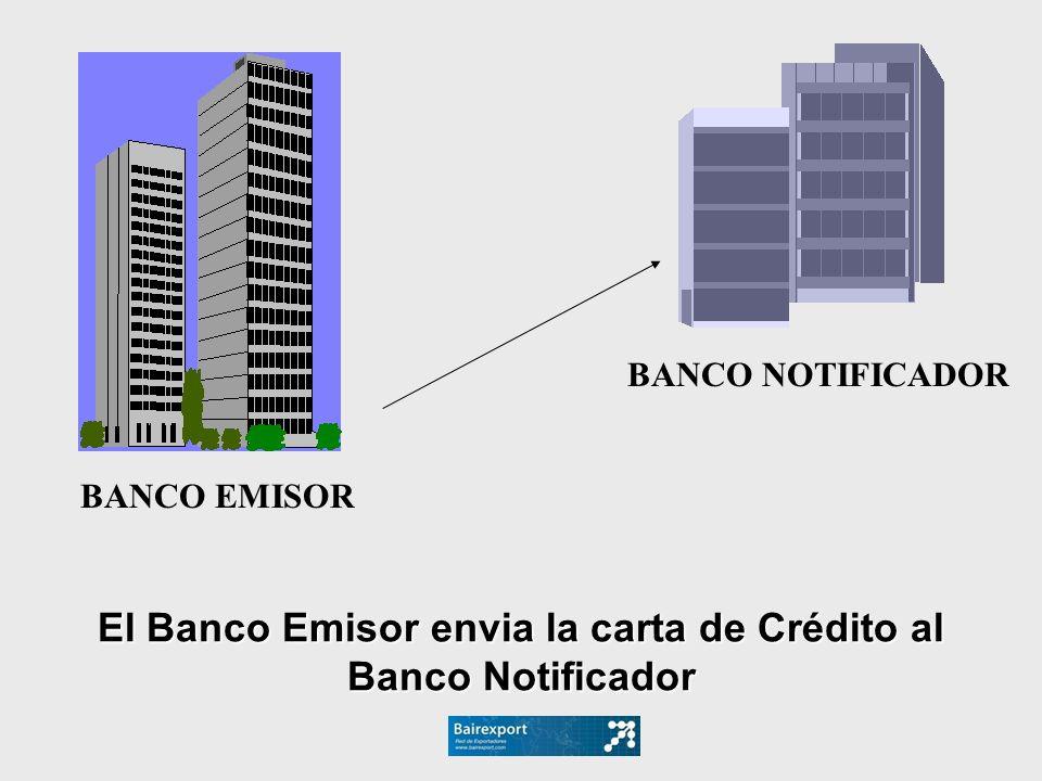 El Banco Emisor envia la carta de Crédito al Banco Notificador