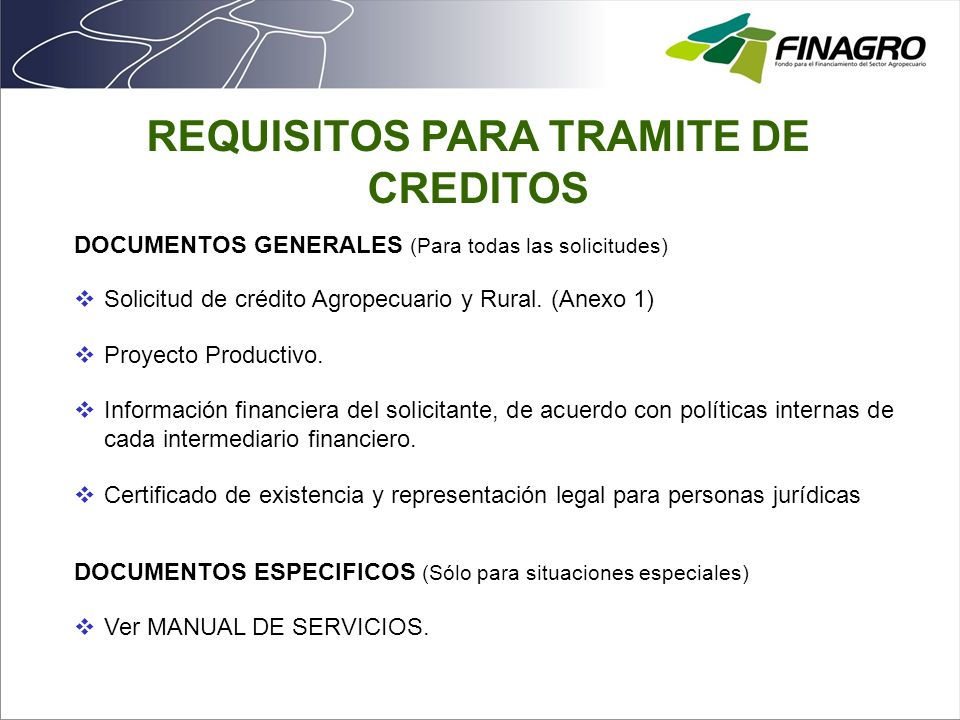 REQUISITOS PARA TRAMITE DE CREDITOS