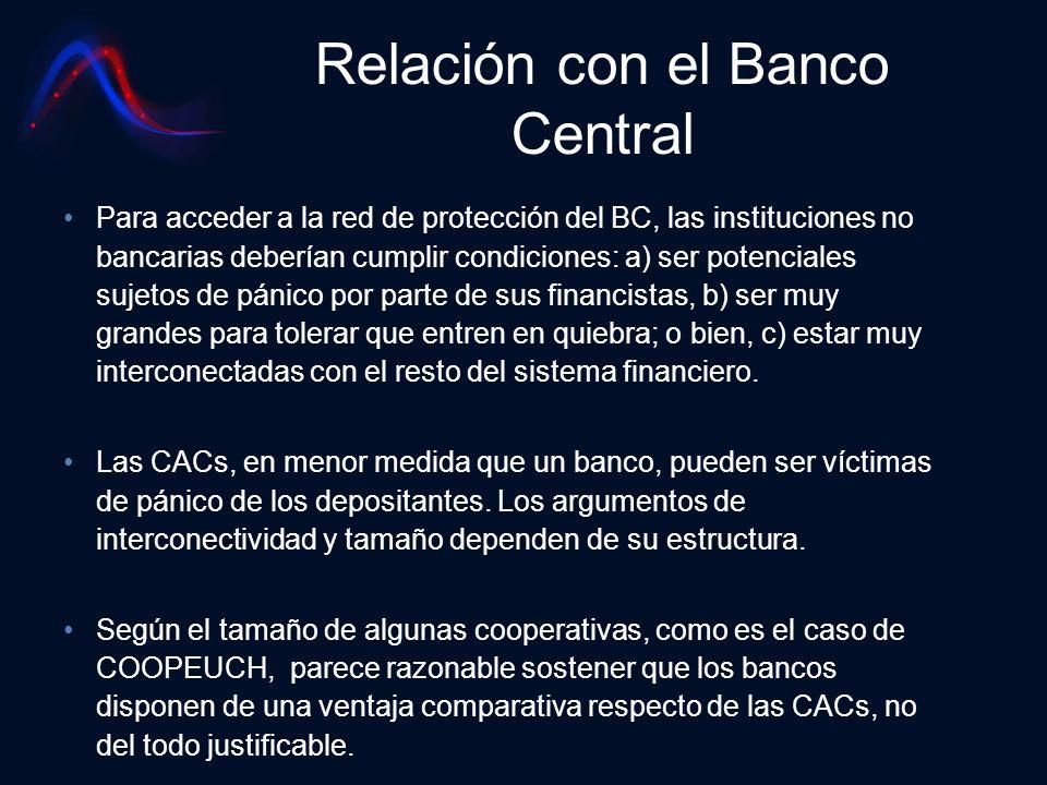 Relación con el Banco Central