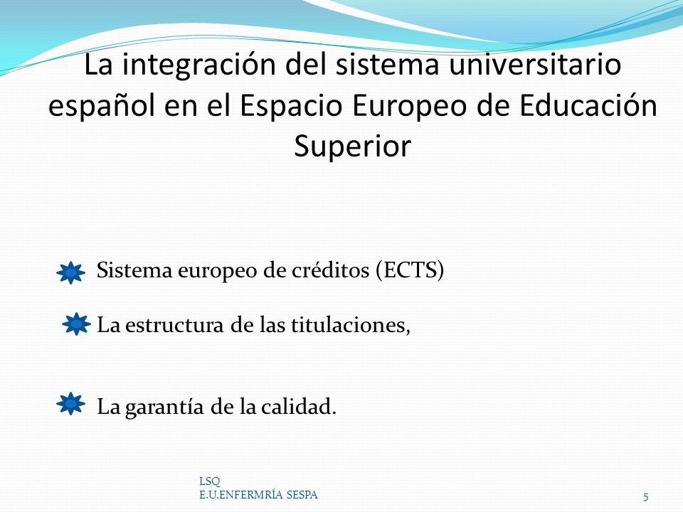 La integración del sistema universitario español en el Espacio Europeo de Educación Superior