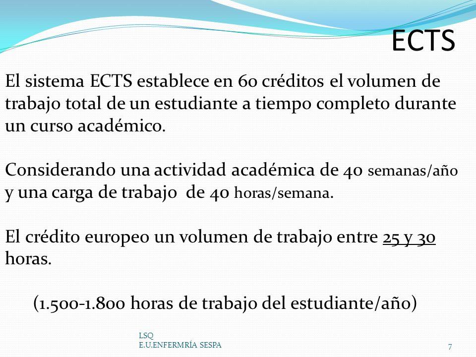 ECTS El sistema ECTS establece en 60 créditos el volumen de trabajo total de un estudiante a tiempo completo durante un curso académico.