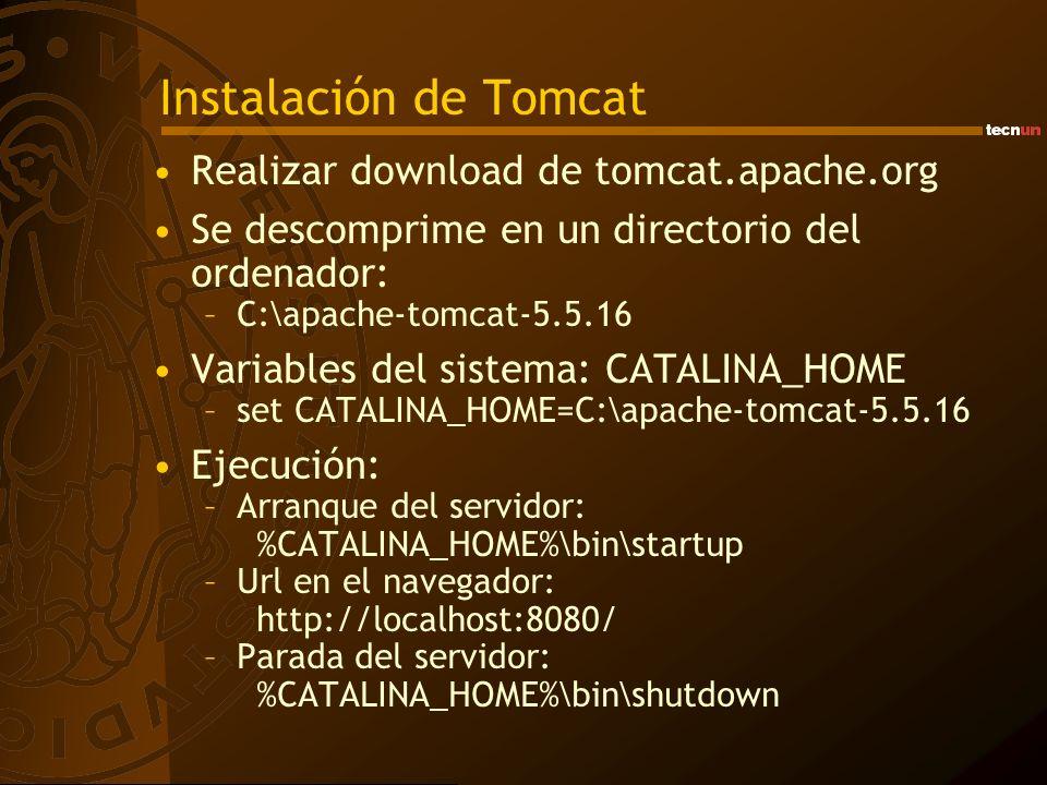 Instalación de Tomcat Realizar download de tomcat.apache.org