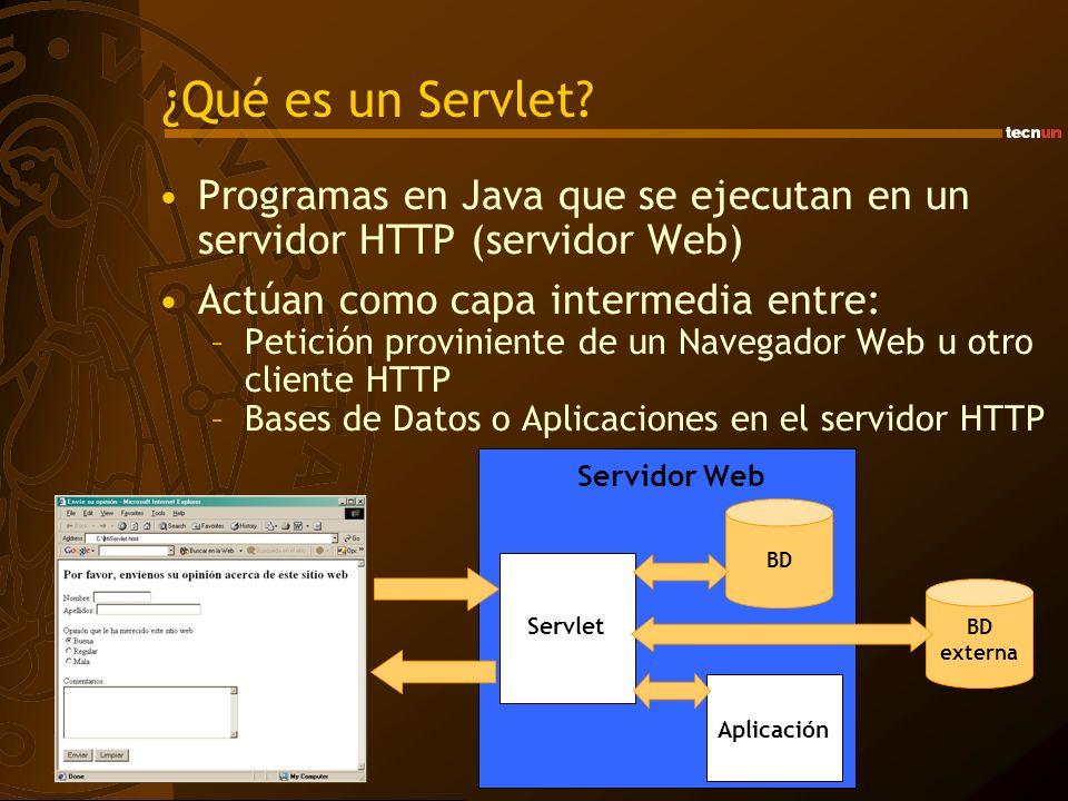 ¿Qué es un Servlet Programas en Java que se ejecutan en un servidor HTTP (servidor Web) Actúan como capa intermedia entre:
