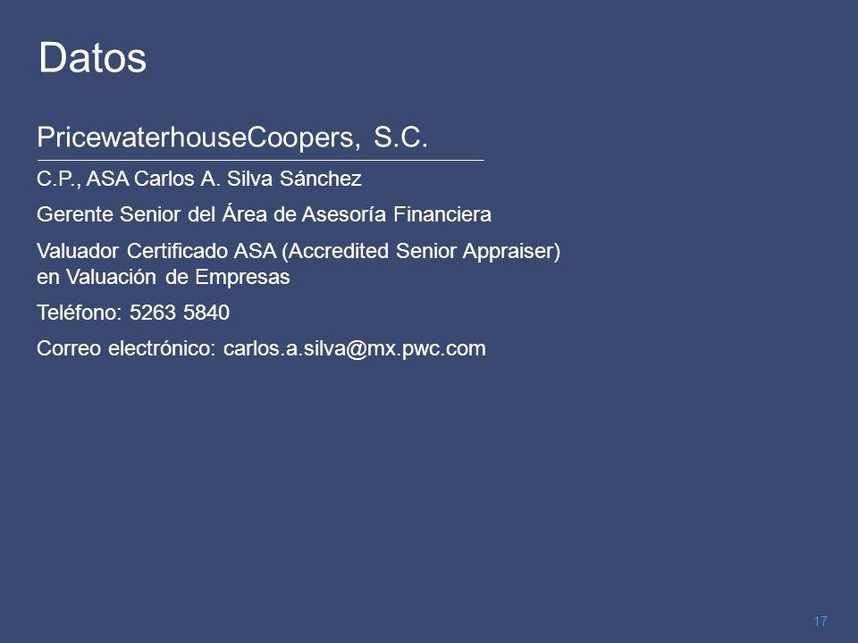 Datos PricewaterhouseCoopers, S.C. C.P., ASA Carlos A. Silva Sánchez