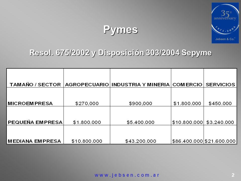 Resol. 675/2002 y Disposición 303/2004 Sepyme