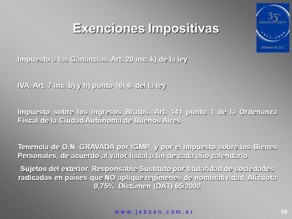 Exenciones Impositivas