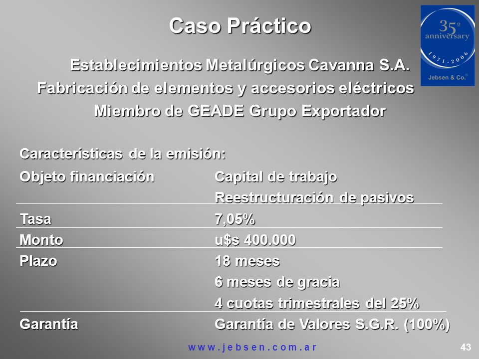 Caso Práctico Establecimientos Metalúrgicos Cavanna S.A.