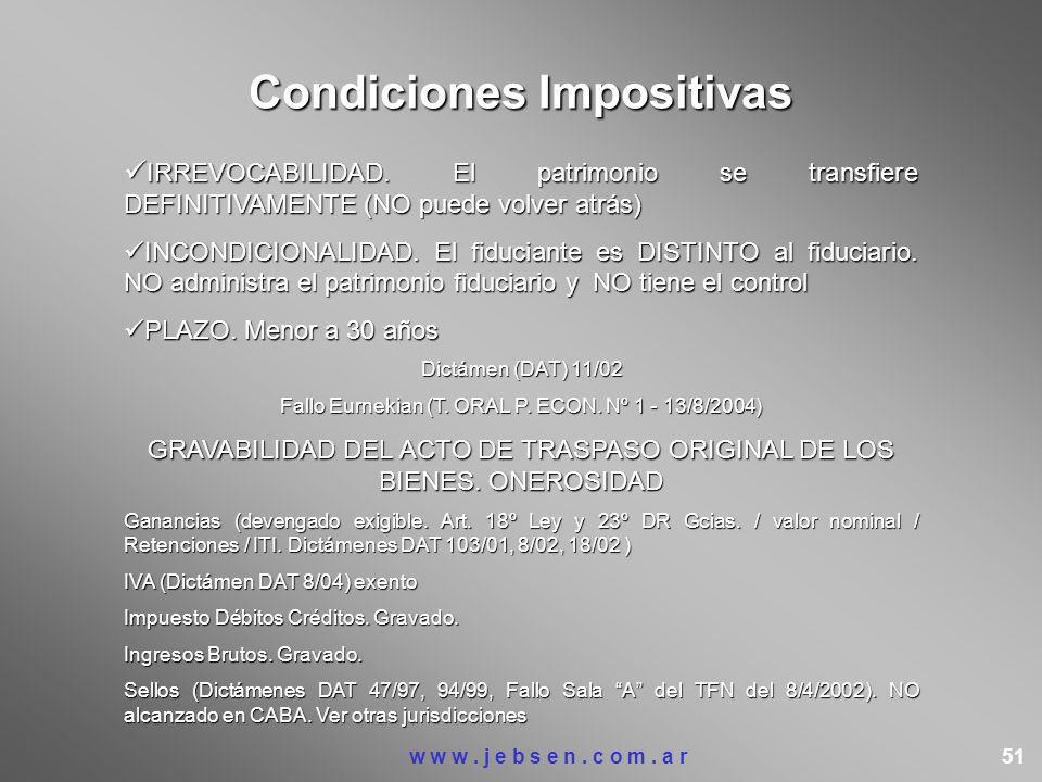Condiciones Impositivas