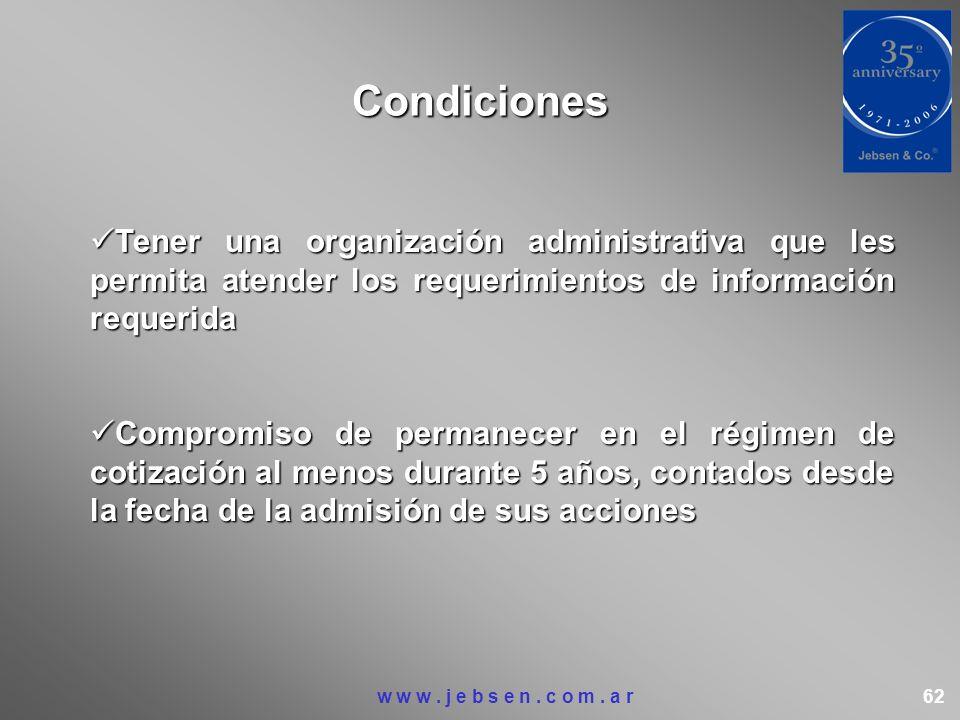 Condiciones Tener una organización administrativa que les permita atender los requerimientos de información requerida.