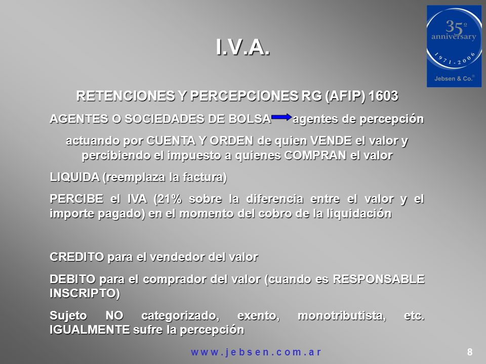 RETENCIONES Y PERCEPCIONES RG (AFIP) 1603