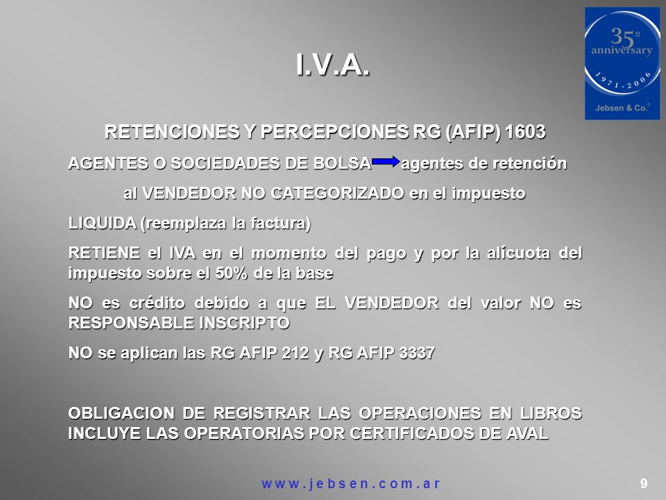 I.V.A. RETENCIONES Y PERCEPCIONES RG (AFIP) 1603
