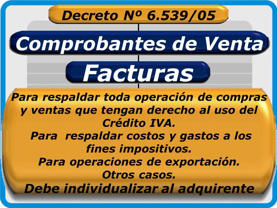 Facturas Comprobantes de Venta Decreto Nº 6.539/05