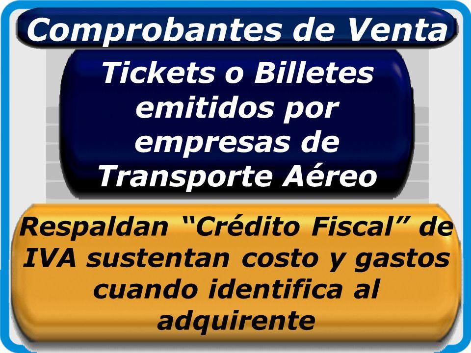 Tickets o Billetes emitidos por empresas de Transporte Aéreo