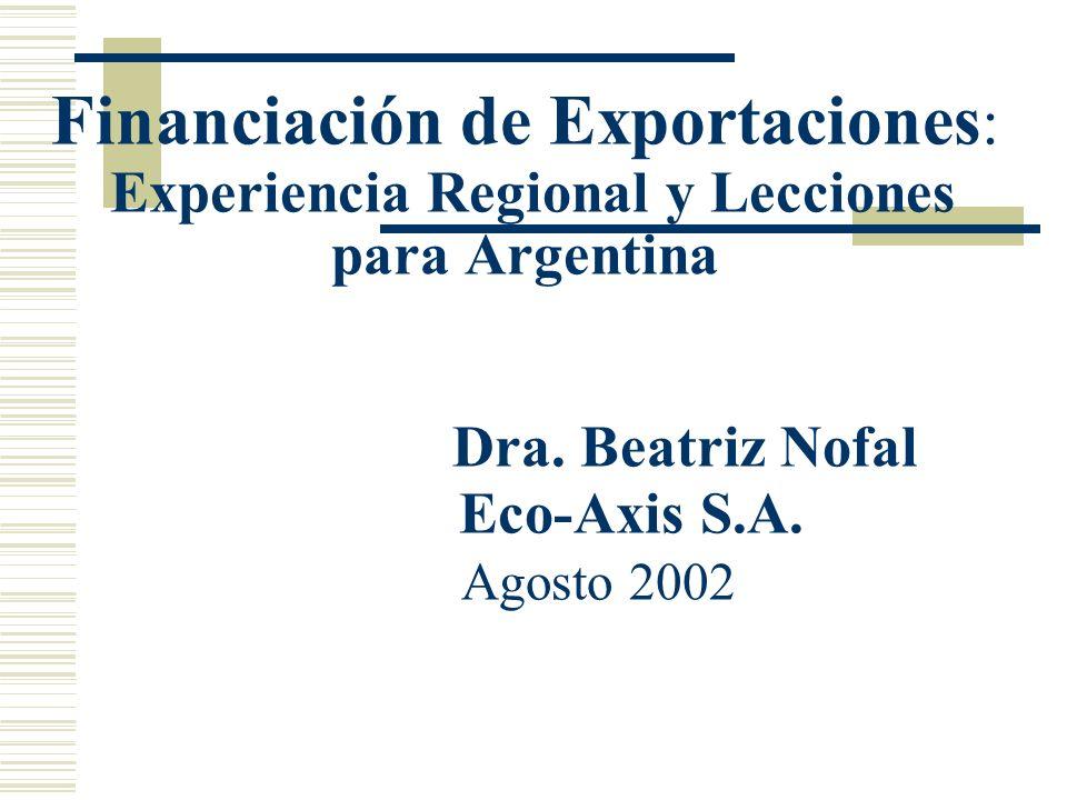 Financiación de Exportaciones: Experiencia Regional y Lecciones para Argentina Dra.